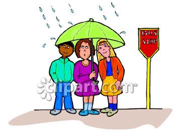 0060-0808-2816-2725_Kids_Sharing_an_Umbrella_at_a_Bus_Stop_Clip_Art_clipart_image
